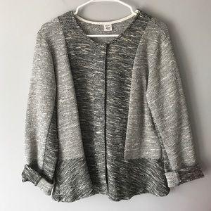 Jockey tweed peplum sweater jacket black ivory  L